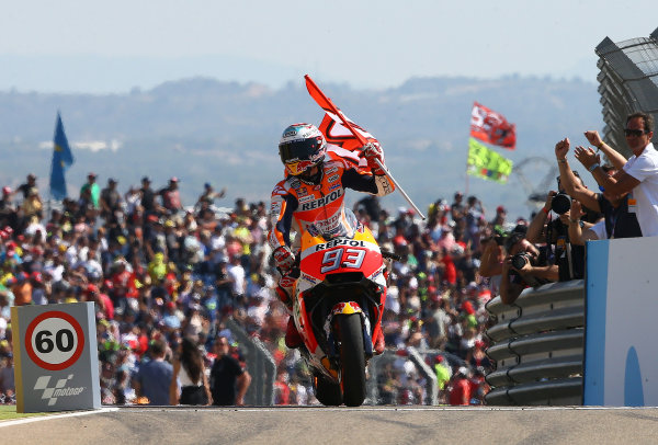 2017 MotoGP Championship - Round 14 Aragon, Spain. Sunday 24 September 2017 Race winner Marc Marquez, Repsol Honda Team World Copyright: Gold and Goose / LAT Images ref: Digital Image 695033