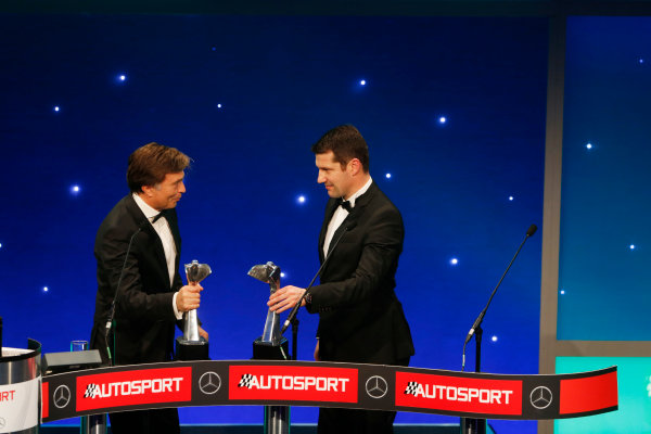 2015 Autosport Awards. Grosvenor House Hotel, Park Lane, London. Sunday 6 December 2015. Rally Car of the Year, Volkswagen Polo R WRC, Jost Capito and Francois-Xavier Demaison. World Copyright: Sam Bloxham/LAT Photographic. ref: Digital Image _SBL4736