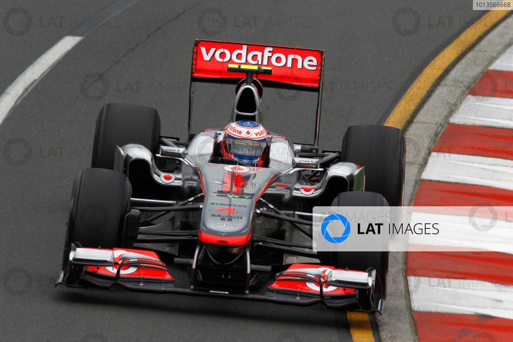 Albert Park, Melbourne, Australia 25th March 2011. Jenson Button, McLaren MP4-26 Mercedes. Action.  World Copyright: Andrew Ferraro/LAT Photographic ref: Digital Image _Q0C8040