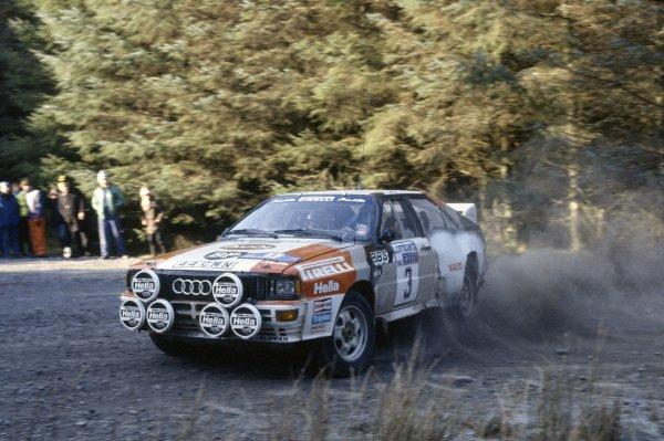 1983 World Rally Championship.Lombard RAC Rally, Great Britain. 19-23 November 1983.Stig Blomqvist/Bjorn Cederberg (Audi Quattro A2), 1st position.World Copyright: LAT PhotographicRef: 35mm transparency 83RALLY09