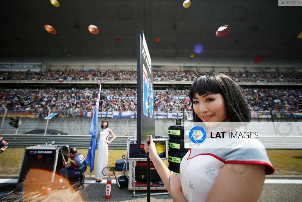 Shanghai International Circuit, Shanghai, China Sunday 14th April 2013 Grid Girl. World Copyright: Glenn Dunbar/LAT Photographic ref: Digital Image _89P7847