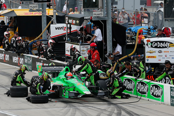 22-23 June, 2013,Newton, Iowa, USA James Hinchcliffe pit stop.(c) 2013, Perry Nelson LAT Photo USA