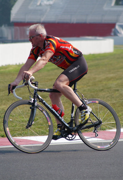 """2003 Champ Car Series 22-24 August 2003Molson Indy Montreal Circuit Gilles Villeneuve.Montreal, Quebec, Canada. Paul Tracy at speed on his bike during Thursday """"track walk"""" in the hairpin.2003- Dan R. Boyd USA LAT Photography"""