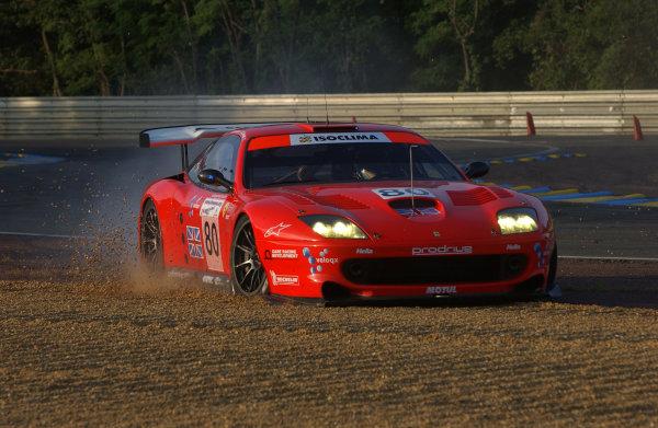 2003 Le mans 24 HoursLe Mans, France. 11th June 2003The Ferrari GTS of Burt/Davidson/Turner, runs wide.World Copyright: Geoff Bloxham/LAT Photographicref: Digital Image Only