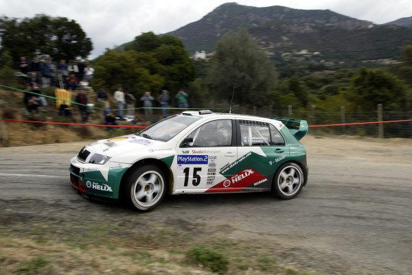 2003 FIA World Rally Champs. Round Twelve Corsica Rally 16th-19th October 2003.Toni Gardemeister Skoda, action. World Copyright: McKlein/LAT