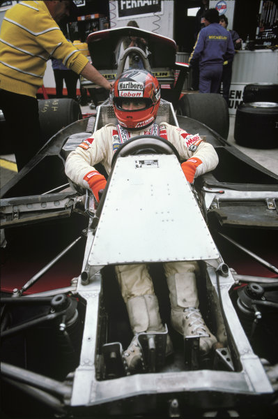 Zolder, Belgium. 11 - 13 May 1979.Gilles Villeneuve (Ferrari 312T4), 7th position, in the pits, portrait.World Copyright: LAT Photographic.Ref: 79BEL27