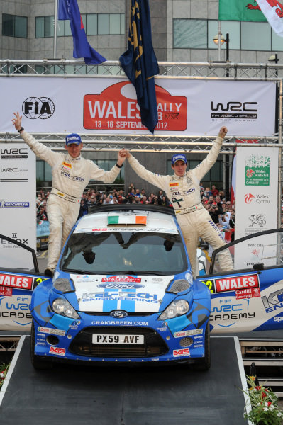 Craig Breen (IRL) and Paul Nagle (IRL), SWRC winners on the podium.FIA World Rally Championship, Rd10, Wales Rally GB, Day Three, Cardiff, Wales, 16 September 2012.
