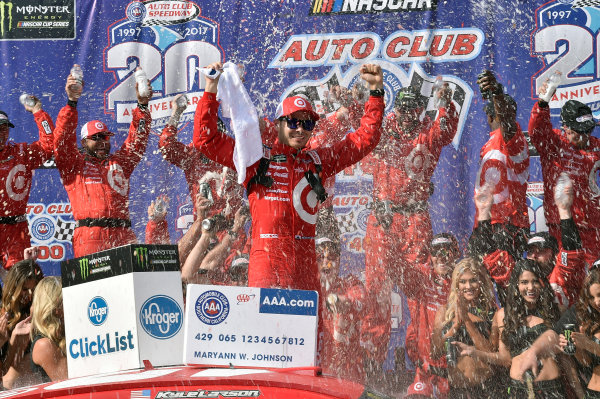 2017 Monster Energy NASCAR Cup Series Auto Club 400 Auto Club Speedway, Fontana, CA USA Sunday 26 March 2017 Kyle Larson celebrates his win in Victory Lane World Copyright: Rusty Jarrett/LAT Images ref: Digital Image _RJ46226
