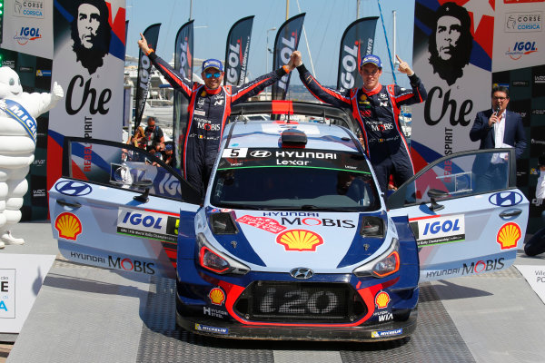2017 FIA World Rally Championship, Round 04, Rallye de France, Tour de Corse, April 06-09, 2017, Thierry Neuville, Hyundai, podium Worldwide Copyright: McKlein/LAT