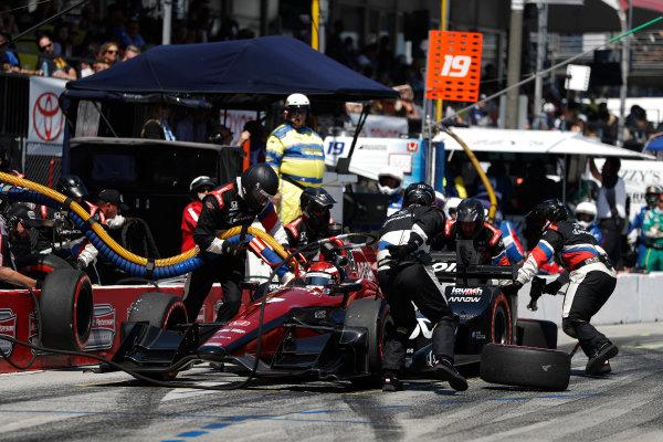 2017 Verizon IndyCar Series Toyota Grand Prix of Long Beach Streets of Long Beach, CA USA Sunday 9 April 2017 Mikhail Aleshin, pit stop World Copyright: Michael L. Levitt LAT Images