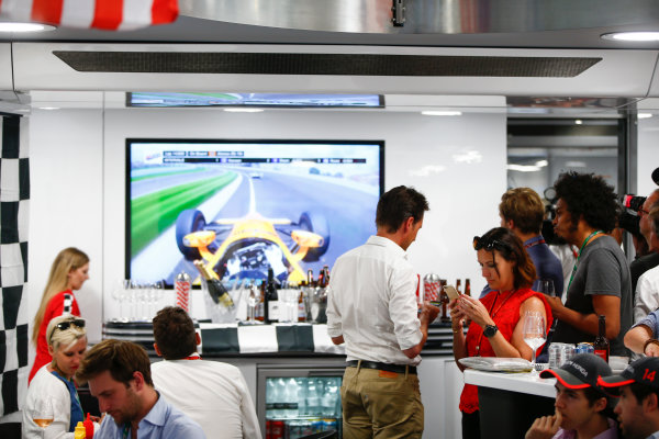 Monte Carlo, Monaco. Sunday 28 May 2017. McLaren adopts a distinctly American feel in the hospitality area, in celebration of their participation in the Indy 500 with Fernando Alonso, McLaren. World Copyright: Andy Hone/LAT Images ref: Digital Image _ONY2048