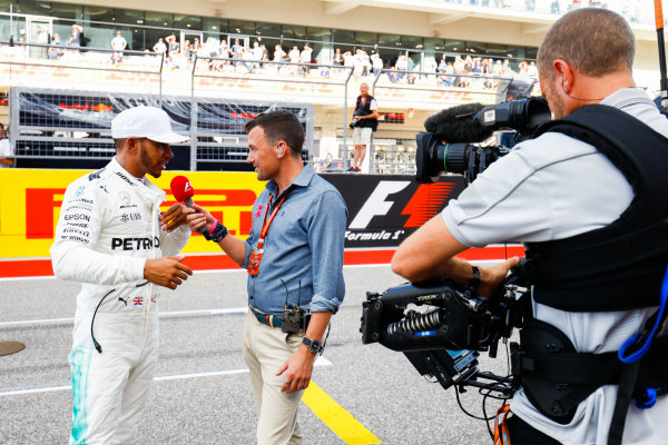 Circuit of the Americas, Austin, Texas, United States of America. Saturday 21 October 2017. Will Buxton interviews pole man Lewis Hamilton, Mercedes AMG after Qualifying. World Copyright: Steven Tee/LAT Images  ref: Digital Image _R3I1388