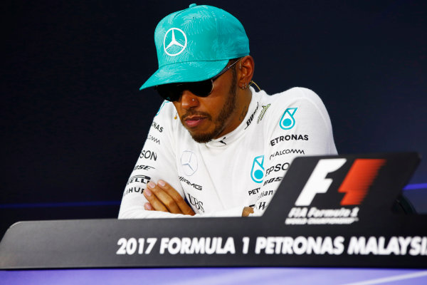 Sepang International Circuit, Sepang, Malaysia. Sunday 1 October 2017. Lewis Hamilton, Mercedes AMG, in subdued mood in the press conference. World Copyright: Andrew Hone/LAT Images  ref: Digital Image _ONZ0471