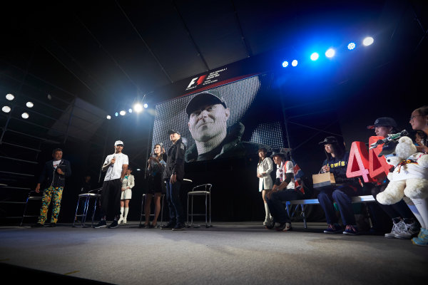 Suzuka Circuit, Japan. Saturday 7 October 2017. Lewis Hamilton, Mercedes AMG, and Valtteri Bottas, Mercedes AMG, with fans on stage. World Copyright: Steve Etherington/LAT Images  ref: Digital Image SNE14198