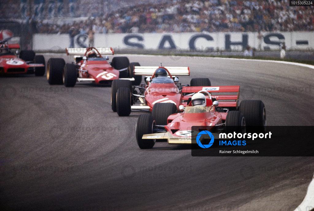 Jochen Rindt, Lotus 72C Ford leading Jacky Ickx, Ferrari 312B and Clay Regazzoni, Ferrari 312B.