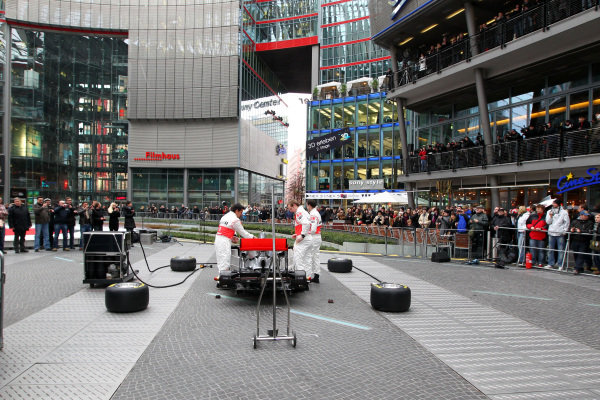 McLaren Mechanics assemble the new MP4-26. McLaren MP4-26 Launch, Kaisersaal, Berlin, Germany, 4 February 2011.