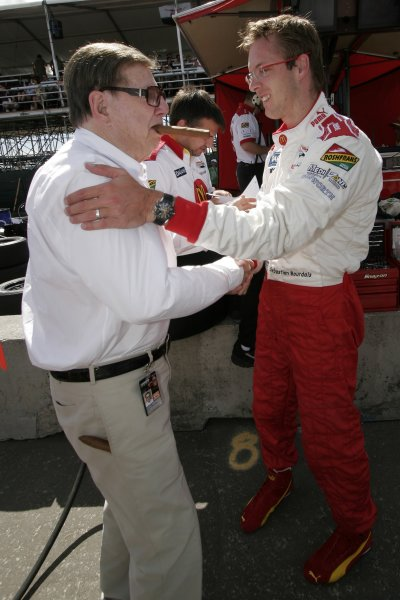 20-22 July, 2007, Edmonton, Alberta, CanadaSebastien Bourdais is congratulated by Carl Haas for winning provisional pole©2007, Lesley Ann Miller, USALAT Photographic