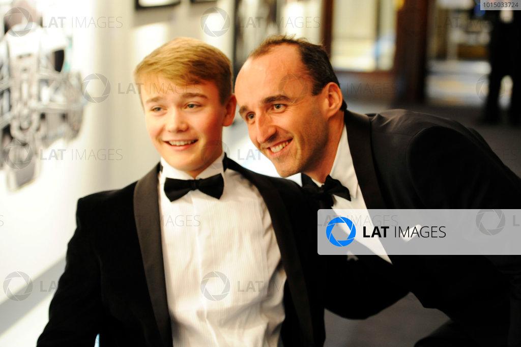 2017 Autosport Awards Grosvenor House Hotel, Park Lane, London. Sunday 3 December 2017. Robert Kubica meets Billy Monger. World Copyright: Ashleigh Hartwell/LAT Images Ref: Digital Image _AKH2441