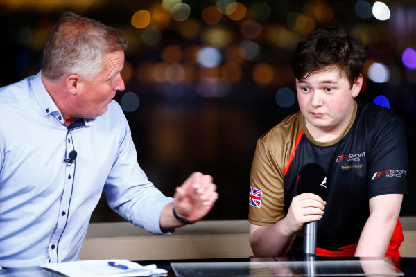 Yas Marina Circuit, Abu Dhabi, United Arab Emirates. Saturday 25 November 2017. Brendon Leigh talks with Johnny Herbert after winning the E-Sports event. World Copyright: Andrew Hone/LAT Images  ref: Digital Image _ONY2424