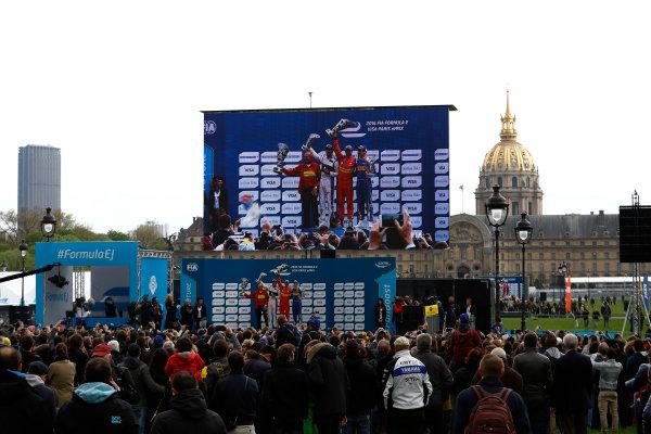 2015/2016 FIA Formula E Championship. Paris ePrix, Paris, France. Saturday 23 April 2016. Jean-Eric Vergne (FRA), DS Virgin Racing DSV-01, Lucas Di Grassi (BRA), ABT Audi Sport FE01 and Sebastien Buemi (SUI), Renault e.Dams Z.E.15. Photo: Steven Tee/LAT/Formula E ref: Digital Image _H7I9845
