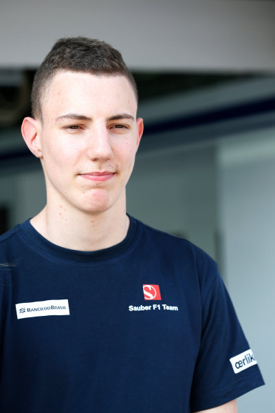 Sepang International Circuit, Sepang, Kuala Lumpur, Malaysia. Thursday 26 March 2015. Raffaele Marciello, Test and Reserve Driver, Sauber, in the garage. World Copyright: Alastair Staley/LAT Photographic. ref: Digital Image _R6T3582