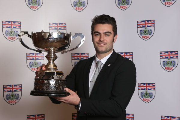 2014 BRDC Annual Awards The Grand Connaught Rooms, London, UK Monday 8 December 2014. Jack Harvey with the Earl Howe trophy. World Copyright: Ebrey/LAT Photographic. ref: Digital Image Harvey-01