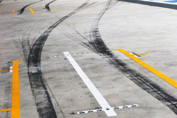 Interlagos, Sao Paulo, Brazil. Saturday 8 November 2014. Tyre marks in the pit lane. World Copyright: Steven Tee/LAT Photographic. ref: Digital Image _L4R1286