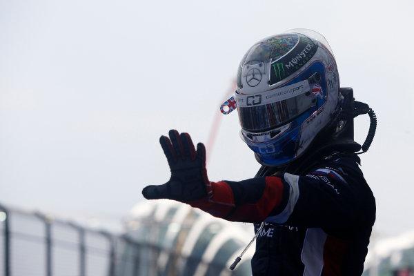 2013 GP2 Series. Round 10.  Marina Bay Circuit, Singapore. 22nd September 2013. Sunday Race.  Sam Bird (GBR, RUSSIAN TIME) celebrates his victory.  World Copyright: Alastair Staley/GP2 Media Service  ref: Digital Image _R6T1092.jpg
