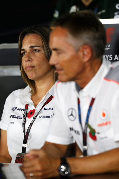 Yas Marina Circuit, Abu Dhabi, United Arab Emirates. Friday 1st November 2013. Claire Williams, Deputy Team Principal, Williams F1, and Martin Whitmarsh, Team Principal, McLaren, in the Friday Press Conference. World Copyright: Charles Coates/LAT Photographic. ref: Digital Image _N7T0516