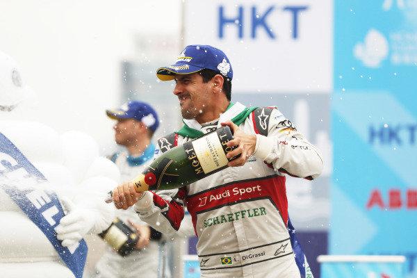 Lucas Di Grassi (BRA), Audi Sport ABT Schaeffler, 3rd position, celebrates with a champagne shower on the podium