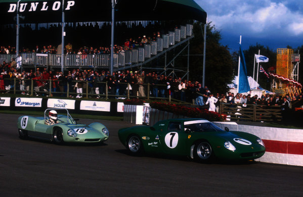 2001 Goodwood Revival.Goodwood, Sussex, England.15-16 September 2001.Joaqufn Folch-R (Ferrari 275 LM) 3rd position followed by Robert Brooks (Lotus 19 Climax) 2nd position in the Whitsun Trophy race. Ref-01 GR 52.World Copyright - LAT Photographic