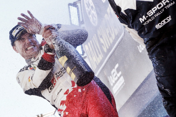 Rally winner Jari-Matti Latvala (FIN), Toyota Gazoo Racing WRC celebrates on the podium with the champagne at World Rally Championship, Rd2, Rally Sweden, Day Three, Karlstad, Sweden, 12 February 2017.