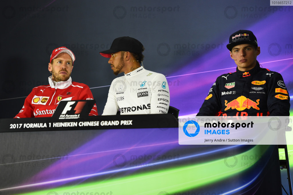 Max Verstappen (NED) Red Bull Racing, Sebastian Vettel (GER) Ferrari and race winner Lewis Hamilton (GBR) Mercedes AMG F1 in the Press Conference at Formula One World Championship, Rd2, Chinese Grand Prix, Race, Shanghai, China, Sunday 9 April 2017.
