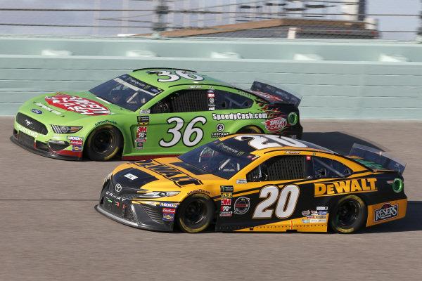#20: Erik Jones, Joe Gibbs Racing, Toyota Camry DeWalt #36: John Hunter Nemechek, Front Row Motorsports, Ford Mustang Speedy Cash