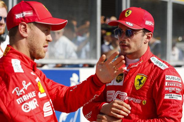 Pole winner Charles Leclerc, Ferrari, and Sebastian Vettel, Ferrari
