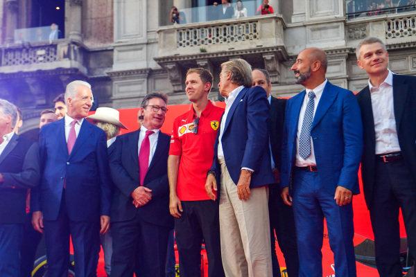 Piero Lardie Ferrari, Sebastian Vettel, Ferrari, Luca di Montezemolo, and Ivan Capelli
