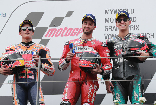Podium: race winner Andrea Dovizioso, Ducati Team, second place Marc Marquez, Repsol Honda, third place: Fabio Quartararo, Petronas Yamaha SRT