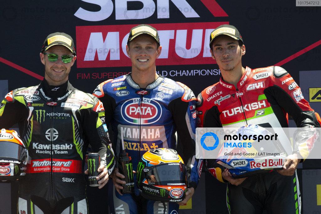 Second place Jonathan Rea, Kawasaki Racing, Winner Michael van der Mark, Pata Yamaha, third place Toprak Razgatlioglu, Turkish Puccetti Racing