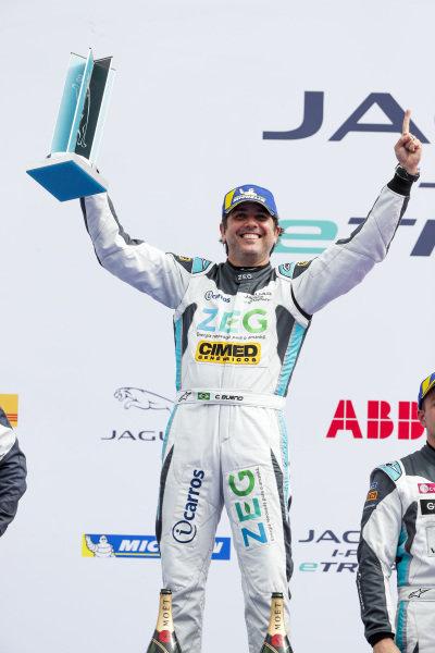 Cacá Bueno (BRA), Jaguar Brazil Racing, 1st position, celebrates on the podium