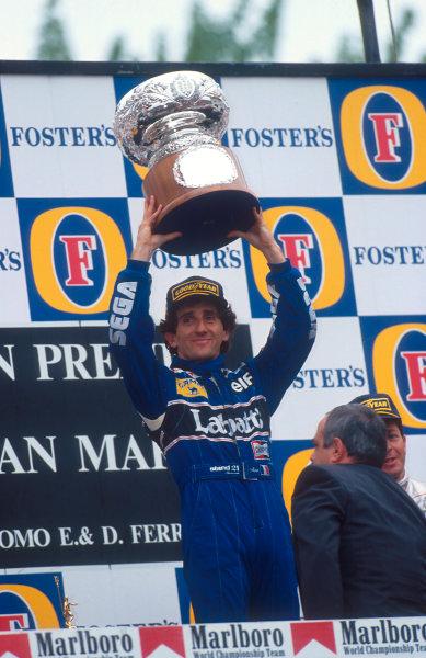 1993 San Marino Grand Prix.Imola, Italy.23-25 April 1993.Alain Prost (Williams Renault) 1st position on the podium.Ref-93 SM 05.World Copyright - LAT Photographic