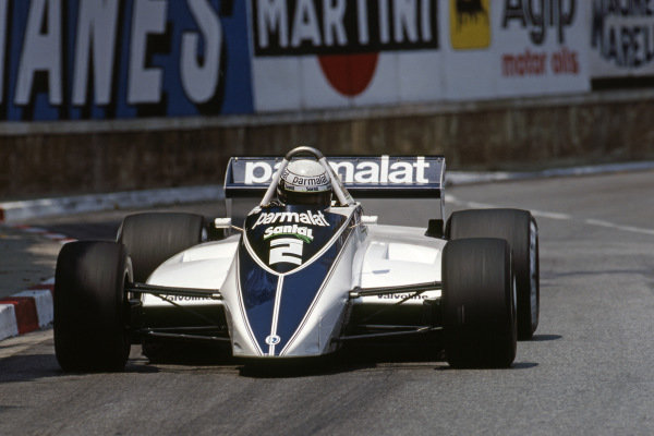 Riccardo Patrese (ITA) Brabham BT49D claimed his first GP victory after chaotic scences in the final laps of the race.  Formula One World Championship, Rd6, Monaco Grand Prix, Monte Carlo, Monaco, 23 May 1982.