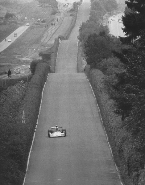 1973 German Grand Prix.Nurburgring, Germany.3-5 August 1973.Carlos Reutemann (Brabham BT42 Ford)Ref-194/22B/W.A Race Through Time exhibition number 80.World Copyright - LAT Photographic