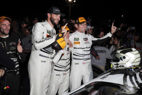 #63 Scuderia Corsa Ferrari 488 GT3, GTD: Cooper MacNeil, Gunnar Jeannette, Daniel Serra celebrate in victory lane