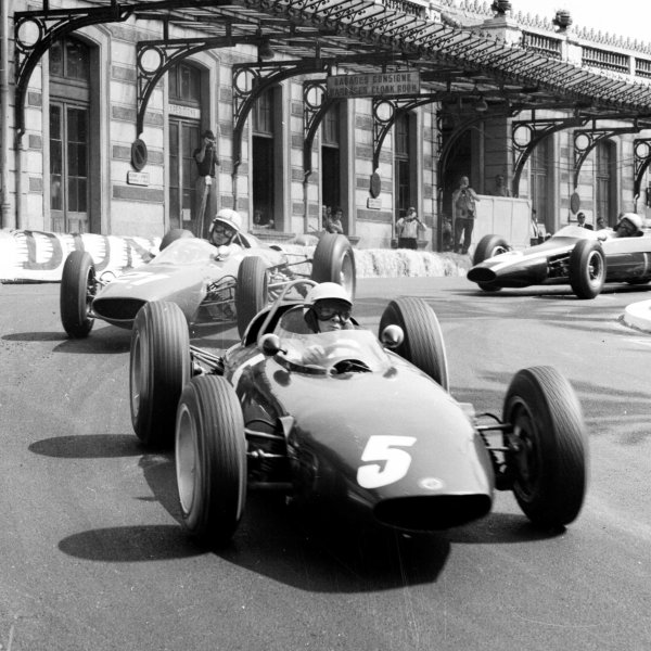 1963 Monaco Grand Prix.Monte Carlo, Monaco.23-26 May 1963.Richie Ginther (BRM P57) leads John Surtees (Ferrari 156) and Bruce McLaren (Cooper T66 Climax) in the Old Station Hairpin. They finished in 2nd, 4th and 3rd positions respectively.Ref-19003.World Copyright - LAT Photographic
