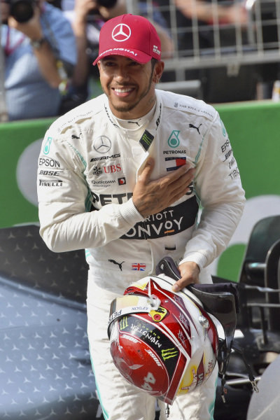 Lewis Hamilton, Mercedes AMG F1, on the grid after Qualifying