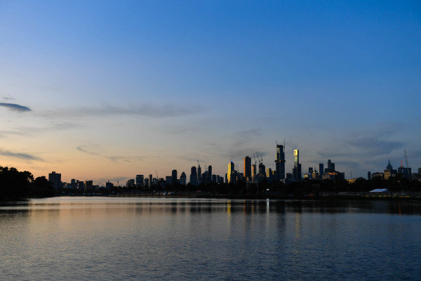 The Melbourne skyline at sunset