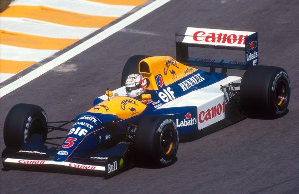 1992 Brazilian Grand Prix.Interlagos, Sao Paulo, Brazil.3-5 April 1992.Nigel Mansell (Williams FW14B Renault) 1st position.Ref-92 BRA 04.World Copyright - LAT Photographic