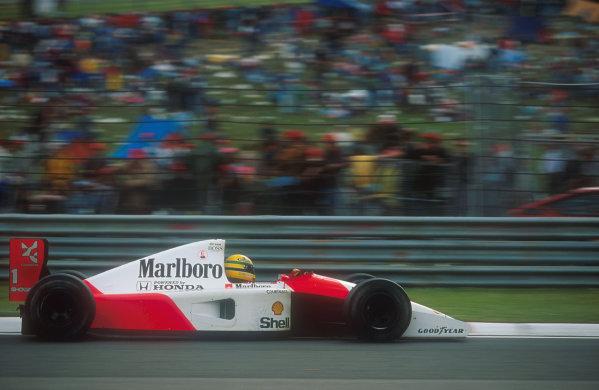 1991 San Marino Grand Prix.Imola, Italy.26-28 April 1991.Ayrton Senna (McLaren MP4/6 Honda) 1st position. Ref-91 SM 09.World Copyright - LAT Photographic