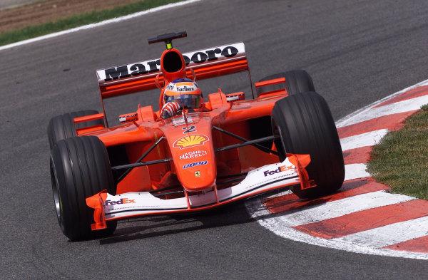 2001 Spanish Grand PrixCatalunya, Barcelona, Spain. 27-29 April 2001.Rubens Barrichello (Ferrari F2001).World Copyright - Steve Etherington/LAT Photographicref: 18 mb Digital Image
