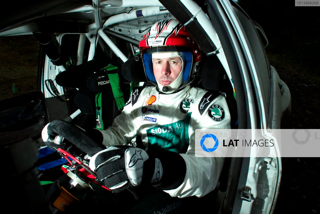 Clatteringshaws Forest, Scotland. 5th September 2005.Colin McRae tests the Skoda Fabia WRC05 prior to the WRC Wales Rally of Great Britain, portrait. World Copyright: Malcolm Grifffiths/LAT Photographic.Ref: Digital Image Only.